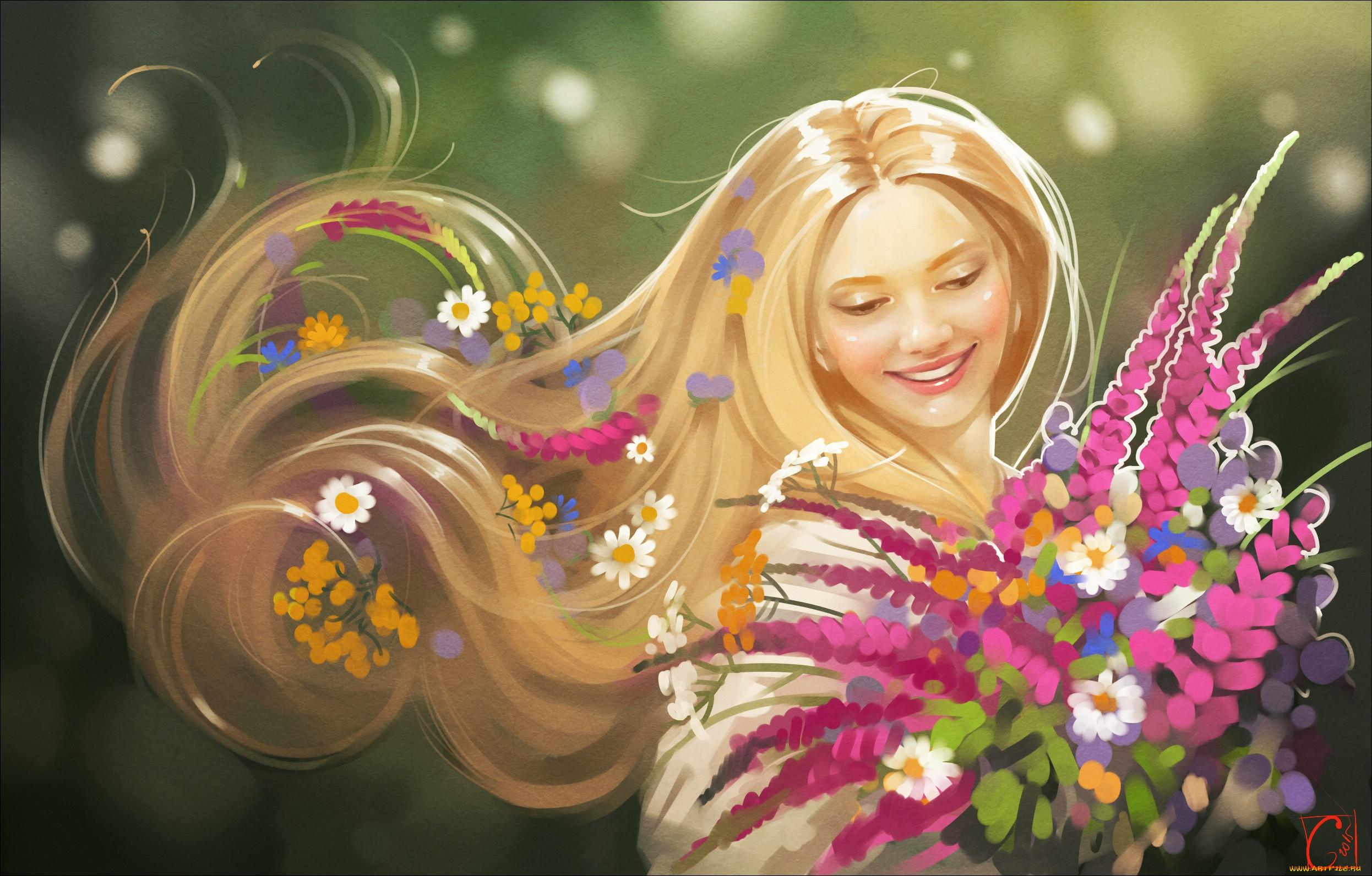 Девушка рисованная улыбка картинка